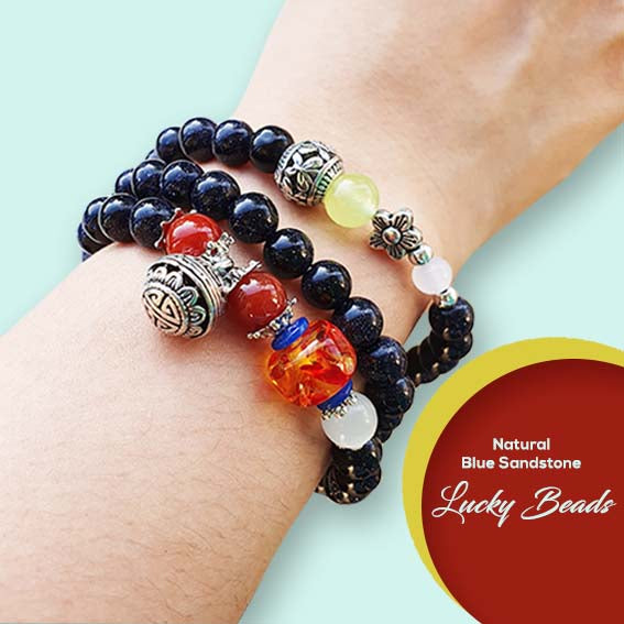 Gelang Lilit Natural Blue Sandstone Lucky beads (LC28)