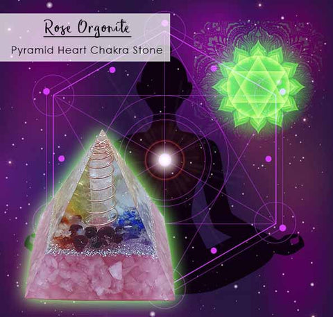 Crystal Healing Rose Quartz Orgonite Pyramid Stone (BC103)