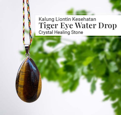 Kalung Liontin Kesehatan Tiger Eye Water Drop Crystal Healing (LBP104)