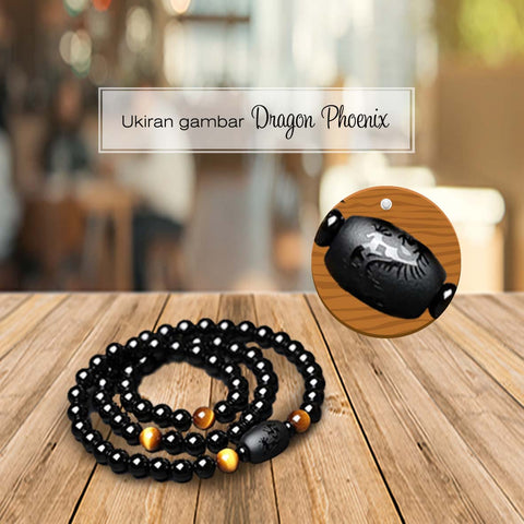Gelang Lilit Dragon Phoenix Triple Natural Stone (LC19)
