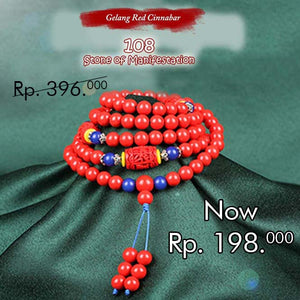 Gelang Lilit Red Cinnabar 108 Stone Of Manifestation (LC24)