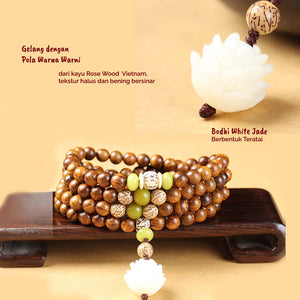 Gelang Lilit Lotus Bodhi Seed 108 Gold Rose Wood (LC26)