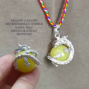 Kalung Liontin Tiger Eye & Yellow Calcite 3D Dragon Stone Premium (LBP02)