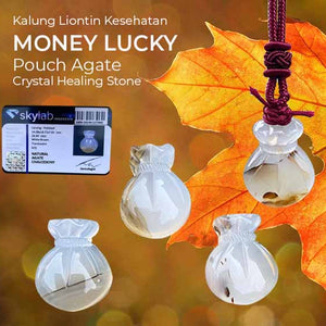 Kalung Liontin Kesehatan Money Lucky Pouch Agate (LBP111)