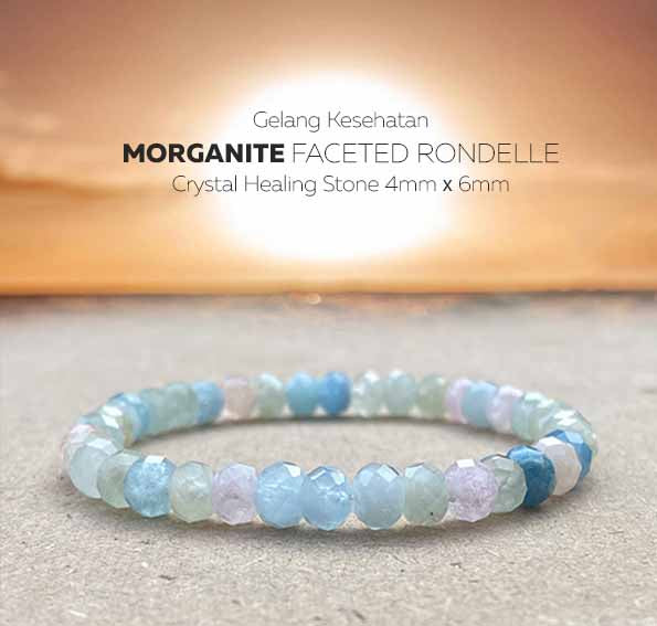 Gelang Kesehatan Morganite Faceted Rondelle Crystal Healing (GBP280)
