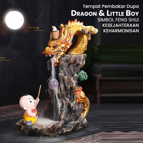 Tempat Pembakar Dupa Dragon & Little Boy Simbol FengShui (TPA21)