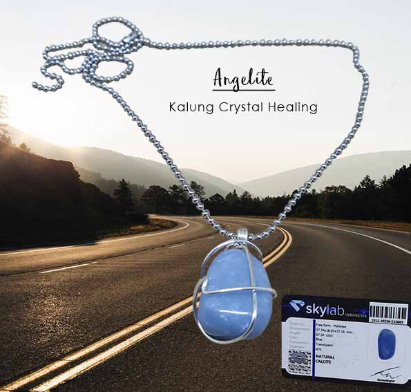 Kalung Crystal Healing Angelite Stone (LBP63)