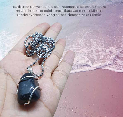 Kalung Crystal Healing Nuummite Stone (LBP66)