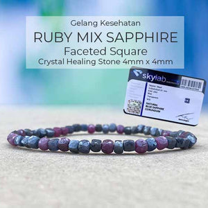 Gelang Kesehatan Ruby Mix Sapphire Faceted Square (GBP305)