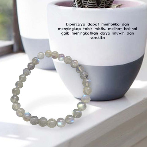 Gelang Stone Of Wisdom (Grey Moonstone) (BP01)⁣