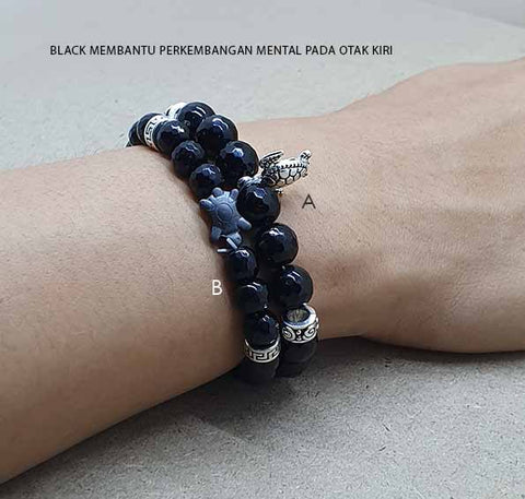 Gelang Black Onyx Shining Turtle Stone (GP40)