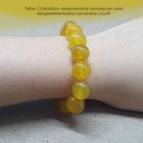 Gelang Crystal Healing Yellow Chalcedony Stone (GBP204)