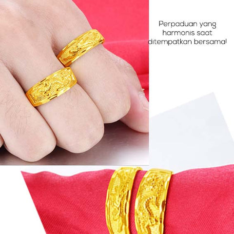 Cincin Couple Dragon Phoenix Lapis Emas 18K (CB20)