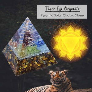 Crystal Healing Tiger Eye Orgonite Pyramid Stone (BC104)