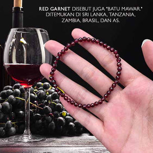 Gelang Kesehatan Brazil Garnet Wine Red Purple Faceted (GBP306)