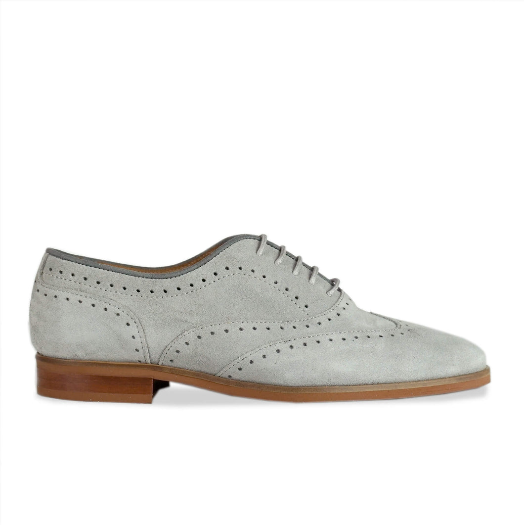 Lacey Grey Suede Brogue Side