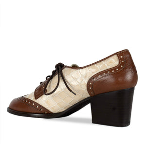 FRANK+Alice Ashley Leather Derby Brown and Cream Angled Heel