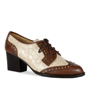 FRANK+Alice Ashley Leather Derby Brown and Cream Angled Toe