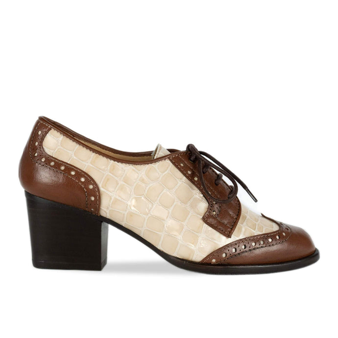 FRANK+Alice Ashley Leather Derby Brown and Cream Side