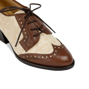 FRANK+Alice Ashley Leather Derby Brown and Cream Toe