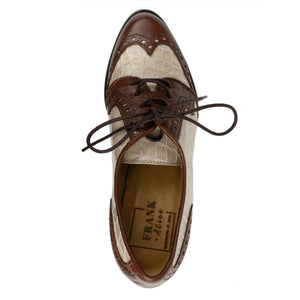 FRANK+Alice Ashley Leather Derby Brown and Cream Top View