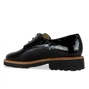 FRANK+Alice Billie Leather Derby Black Angled Heel View