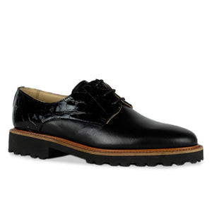 FRANK+Alice Billie Leather Derby Black Angled Toe View