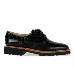 FRANK+Alice Billie Leather Derby Black Side View