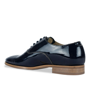 FRANK+Alice Casey Patent Leather Oxford Navy Blue Angled Heel