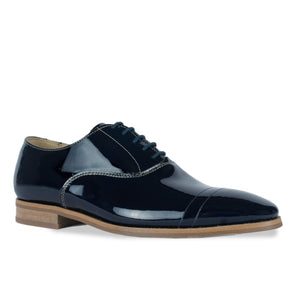 FRANK+Alice Casey Patent Leather Oxford Navy Blue Angled Toe