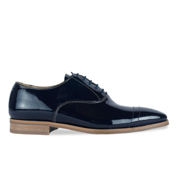 FRANK+Alice Casey Patent Leather Oxford Navy Blue Side