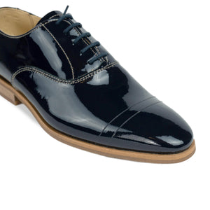 FRANK+Alice Casey Patent Leather Oxford Navy Blue Toe