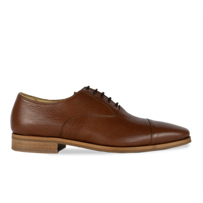 FRANK+Alice Dorian Leather Oxford Chestnut Tan Side View