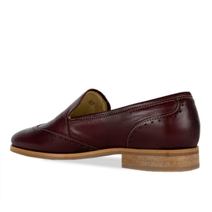 FRANK+Alice Eden Leather Loafer Burgundy Angled Heel View