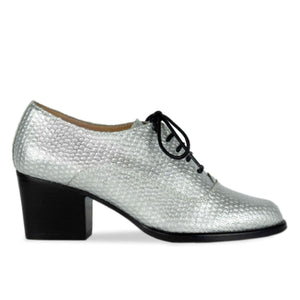 FRANK+Alice Frankie Metallic Leather Oxford Silver Side View