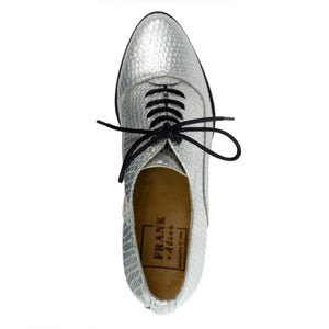 FRANK+Alice Frankie Metallic Leather Oxford Silver Top View