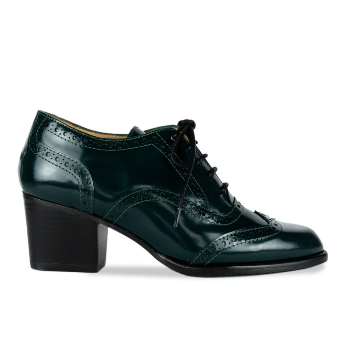 FRANK+Alice Glen Leather Oxford Dark Green Side View
