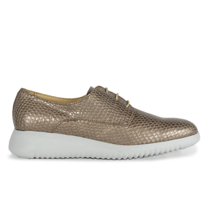 FRANK+Alice Issy Metallic Leather Derby Rose Gold Side View