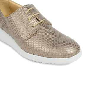 FRANK+Alice Issy Metallic Leather Derby Rose Gold Toe