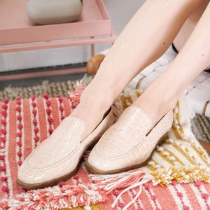 Jules: Nude Croc Loafer modelled
