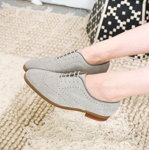 Lacey: Grey Suede Brogue modelled