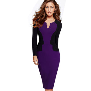 Professional Women Autumn Casual Work Business Elegant V Shaped Cutout Neckline Colorblock Contrasting Bodycon Dresses EB342