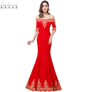 Hot Sale Gold Lace Appliques Red Mermaid Prom Dresses Long 2017 Cheap Lace Half Sleeve Prom Dress Vestido de Festa Longo