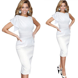 New Women Vintage Ruffle Sleeveless Bodycon Dresses Elegant Stylish Draped Ruched Tunic Waist White Dress B311
