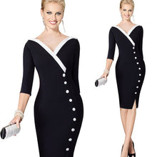 Autumn Womens Casual Patchwork Elegant Vintage Office Work Business Buttons Bodycon Sheath Pencil Dresses EB335