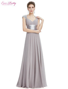 Formal Evening Dress EP09672 Ever Pretty Cap Sleeve Sweep Train V-neck White Sequins Chiffon Ruffles Empire Long Evening Dresses