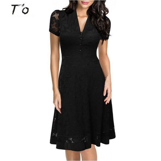 T'O Eu-US Cap Sleeve Crochet V Neck Front Button1950s Style Vintage Black Lace A-line Office Lady Work Party Elegant Dress 175