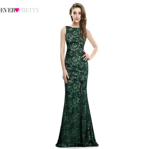 Mermaid Evening Dress Ever Pretty EP08859  2017 Long Sexy Sleeveless Split Formal Celebrity Lace Evening Gown Dresses