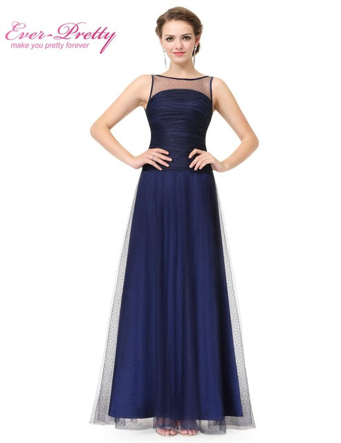 Navy Blue Sleeveless Floor Length Evening Dress with Illusion Neckline Ever Pretty EP08882 A-line Formal Evening Dress