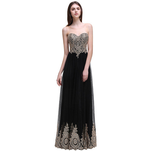 Robe de Soiree Longue Sexy Backless Beaded Lace Black Long Evening Dress 2017 Cheap Appliques Evening Gowns Vestido de Festa